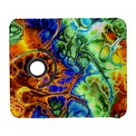 Abstract Fractal Batik Art Green Blue Brown Samsung Galaxy S  III Flip 360 Case Front