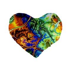 Abstract Fractal Batik Art Green Blue Brown Standard 16  Premium Heart Shape Cushions