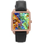 Abstract Fractal Batik Art Green Blue Brown Rose Gold Leather Watch  Front