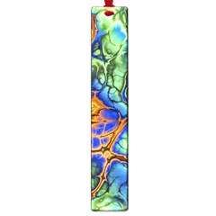 Abstract Fractal Batik Art Green Blue Brown Large Book Marks