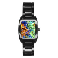 Abstract Fractal Batik Art Green Blue Brown Stainless Steel Barrel Watch