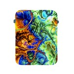 Abstract Fractal Batik Art Green Blue Brown Apple iPad 2/3/4 Protective Soft Cases Front