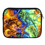 Abstract Fractal Batik Art Green Blue Brown Apple iPad 2/3/4 Zipper Cases Front