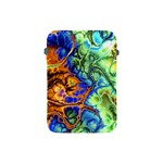Abstract Fractal Batik Art Green Blue Brown Apple iPad Mini Protective Soft Cases Front