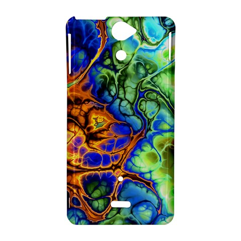 Abstract Fractal Batik Art Green Blue Brown Sony Xperia V