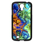 Abstract Fractal Batik Art Green Blue Brown Samsung Galaxy S4 I9500/ I9505 Case (Black) Front