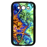 Abstract Fractal Batik Art Green Blue Brown Samsung Galaxy Grand DUOS I9082 Case (Black) Front
