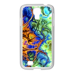Abstract Fractal Batik Art Green Blue Brown Samsung GALAXY S4 I9500/ I9505 Case (White)