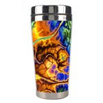 Abstract Fractal Batik Art Green Blue Brown Stainless Steel Travel Tumblers Left