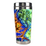 Abstract Fractal Batik Art Green Blue Brown Stainless Steel Travel Tumblers Center