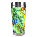 Abstract Fractal Batik Art Green Blue Brown Stainless Steel Travel Tumblers Right