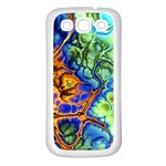 Abstract Fractal Batik Art Green Blue Brown Samsung Galaxy S3 Back Case (White) Front