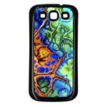 Abstract Fractal Batik Art Green Blue Brown Samsung Galaxy S3 Back Case (Black) Front