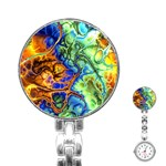 Abstract Fractal Batik Art Green Blue Brown Stainless Steel Nurses Watch Front