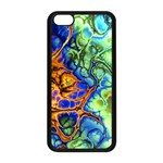 Abstract Fractal Batik Art Green Blue Brown Apple iPhone 5C Seamless Case (Black) Front