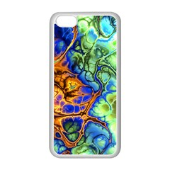 Abstract Fractal Batik Art Green Blue Brown Apple iPhone 5C Seamless Case (White)