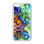 Abstract Fractal Batik Art Green Blue Brown Apple iPhone 5C Seamless Case (White) Front