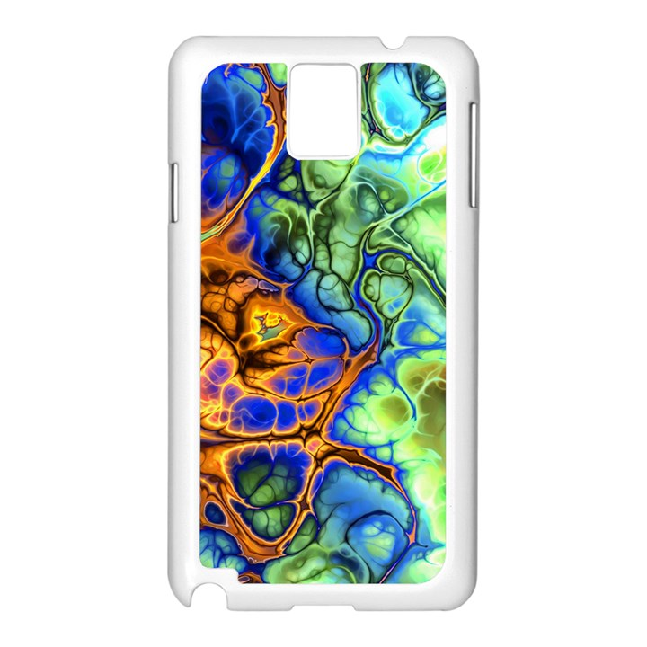 Abstract Fractal Batik Art Green Blue Brown Samsung Galaxy Note 3 N9005 Case (White)