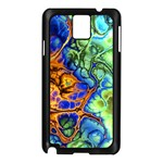 Abstract Fractal Batik Art Green Blue Brown Samsung Galaxy Note 3 N9005 Case (Black) Front