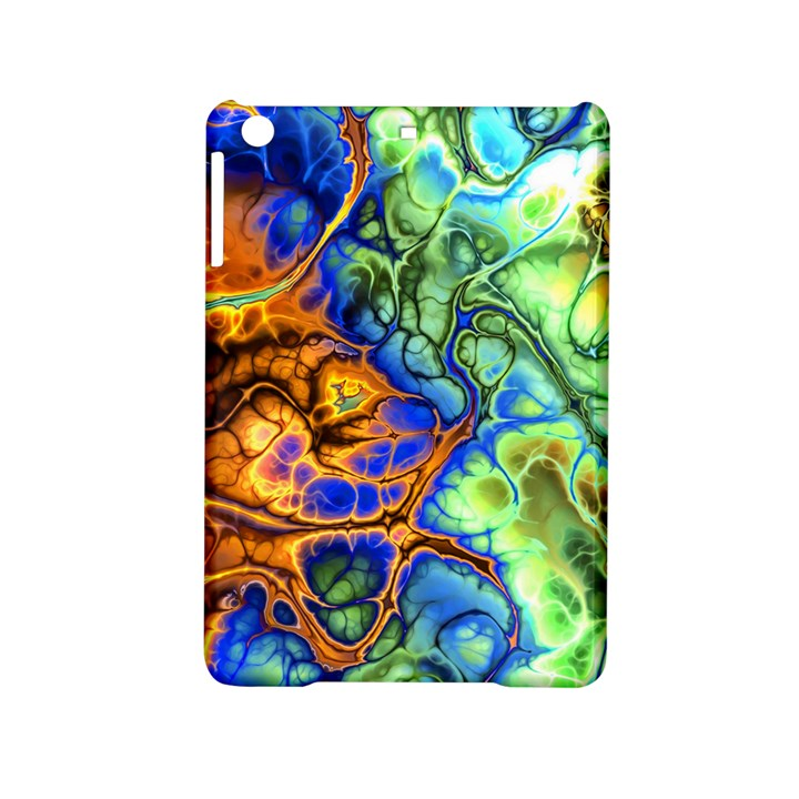 Abstract Fractal Batik Art Green Blue Brown iPad Mini 2 Hardshell Cases