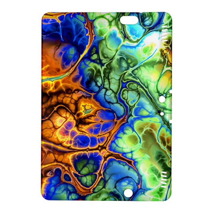 Abstract Fractal Batik Art Green Blue Brown Kindle Fire HDX 8.9  Hardshell Case