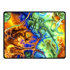 Abstract Fractal Batik Art Green Blue Brown Double Sided Fleece Blanket (small)