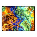 Abstract Fractal Batik Art Green Blue Brown Double Sided Fleece Blanket (Small)  50 x40 Blanket Back