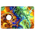 Abstract Fractal Batik Art Green Blue Brown Kindle Fire HDX Flip 360 Case Front