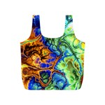 Abstract Fractal Batik Art Green Blue Brown Full Print Recycle Bags (S)  Front