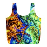 Abstract Fractal Batik Art Green Blue Brown Full Print Recycle Bags (L)  Front