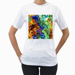 Abstract Fractal Batik Art Green Blue Brown Women s T-Shirt (White)