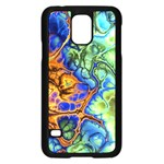 Abstract Fractal Batik Art Green Blue Brown Samsung Galaxy S5 Case (Black) Front