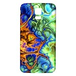 Abstract Fractal Batik Art Green Blue Brown Samsung Galaxy S5 Back Case (White) Front