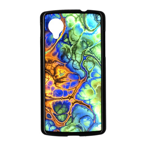Abstract Fractal Batik Art Green Blue Brown Nexus 5 Case (Black)