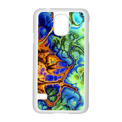 Abstract Fractal Batik Art Green Blue Brown Samsung Galaxy S5 Case (White)