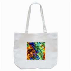 Abstract Fractal Batik Art Green Blue Brown Tote Bag (white)