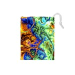 Abstract Fractal Batik Art Green Blue Brown Drawstring Pouches (Small)  Front