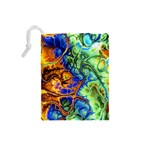 Abstract Fractal Batik Art Green Blue Brown Drawstring Pouches (Small)  Back