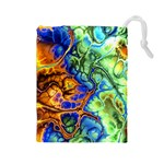 Abstract Fractal Batik Art Green Blue Brown Drawstring Pouches (Large)  Front