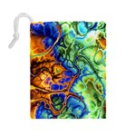 Abstract Fractal Batik Art Green Blue Brown Drawstring Pouches (Large)  Back