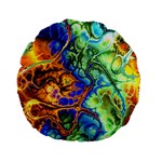 Abstract Fractal Batik Art Green Blue Brown Standard 15  Premium Flano Round Cushions Back
