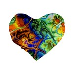 Abstract Fractal Batik Art Green Blue Brown Standard 16  Premium Flano Heart Shape Cushions Back