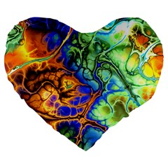 Abstract Fractal Batik Art Green Blue Brown Large 19  Premium Flano Heart Shape Cushions