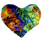 Abstract Fractal Batik Art Green Blue Brown Large 19  Premium Flano Heart Shape Cushions Front
