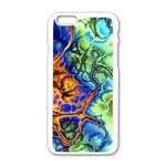 Abstract Fractal Batik Art Green Blue Brown Apple iPhone 6/6S White Enamel Case Front