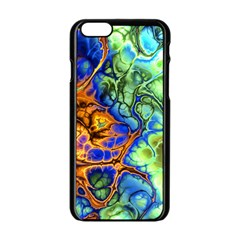 Abstract Fractal Batik Art Green Blue Brown Apple iPhone 6/6S Black Enamel Case