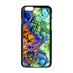 Abstract Fractal Batik Art Green Blue Brown Apple iPhone 6/6S Black Enamel Case Front