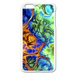 Abstract Fractal Batik Art Green Blue Brown Apple iPhone 6 Plus/6S Plus Enamel White Case Front