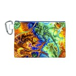 Abstract Fractal Batik Art Green Blue Brown Canvas Cosmetic Bag (M) Front