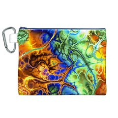 Abstract Fractal Batik Art Green Blue Brown Canvas Cosmetic Bag (XL)